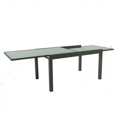 HARA XL - Table de jardin extensible aluminium 140/280cm  + 8 fauteuils textilène Noir