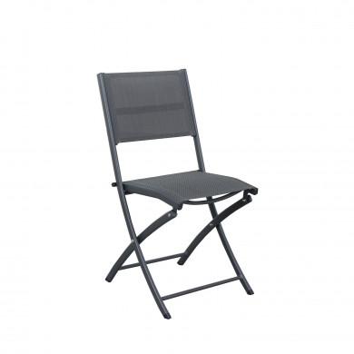 Table de jardin extensible aluminium 90/180cm  + 4 Chaises pliables textilène gris - BORA 4