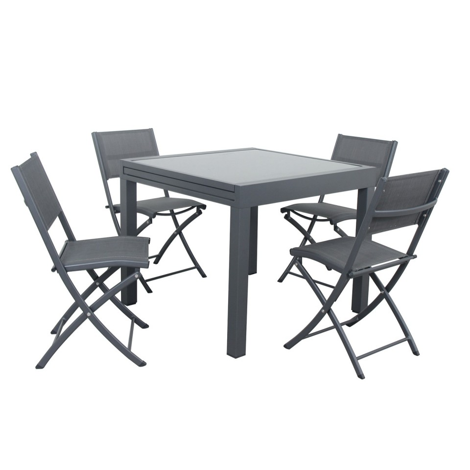 BORA - Table de jardin extensible aluminium 90/180cm + 4 Chaises ...