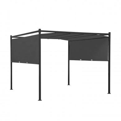 Tonnelle/Pergola acier 3x3m toile coulissante - Tente de jardin Gris Anthracite - FIRA