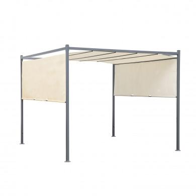 Tonnelle/Pergola acier 3x3m toile coulissante - Tente de jardin Gris Beige - FIRA
