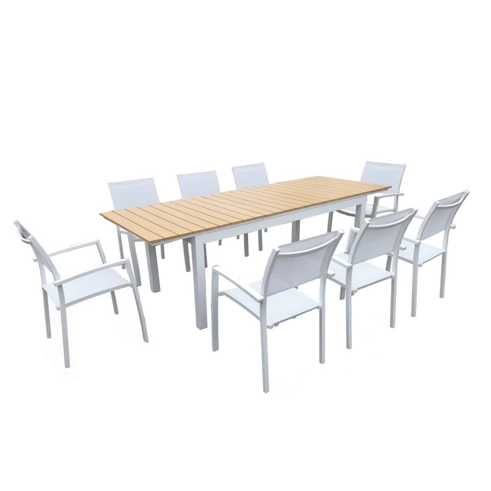 PALMA 8 - Table de jardin extensible aluminium blanc 180 ...