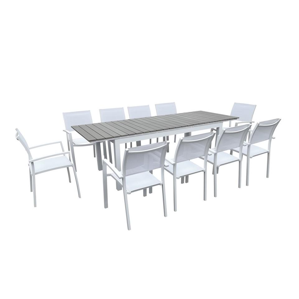 Table de jardin extensible aluminium 180/240cm blanc gris + ...