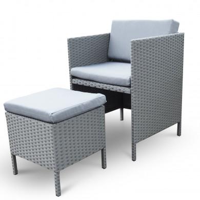 MUNGA 10 Places - Ensemble encastrable salon / table de jardin résine tressée - Gris/Gris