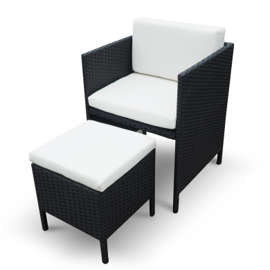 MUNGA 10 Places - Ensemble encastrable salon / table de jardin résine tressée-Noir/Ecru