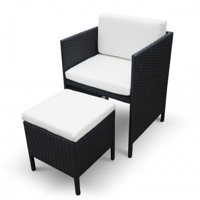 MUNGA 12 Places - Ensemble encastrable salon / table de jardin résine tressée-Noir/Ecru