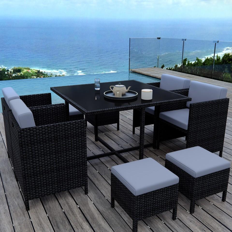 MUNGA 8 Places - Ensemble encastrable salon / table de jardin résine ...