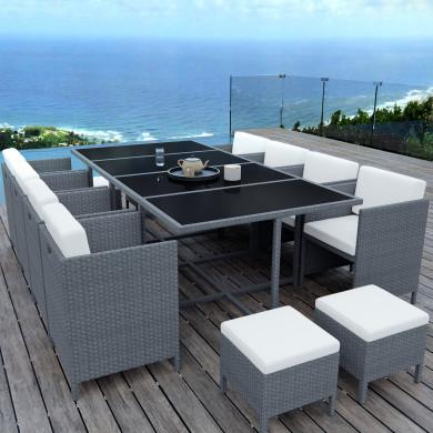 MUNGA 12 Places - Ensemble encastrable salon / table de jardin résine tressée - Gris / Ecru