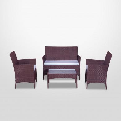 IMORA - Salon de jardin résine tressée Marron / ecru - ensemble 4 places - Canapé + Fauteuil + Table